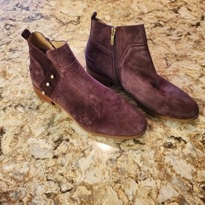 Franco Sarto Burgundy Suede As nkle Boots